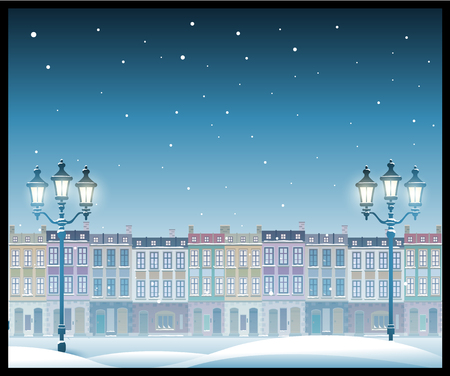 city landscape: Christmas town illustration cityscape. Seamless pattern