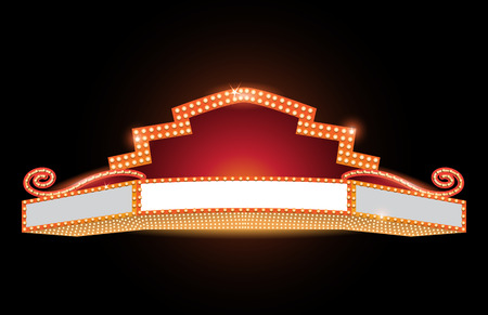 Brightly theater glowing retro vintage cinema neon sign