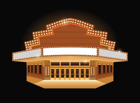 밝은 극장 빛나는 레트로 빈티지 시네마 건물 기호