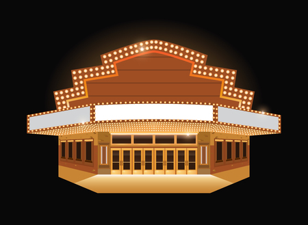 Brightly theater glowing retro vintage cinema building sign