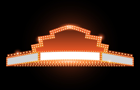 shiny background: Brightly theater glowing retro vintage cinema neon sign