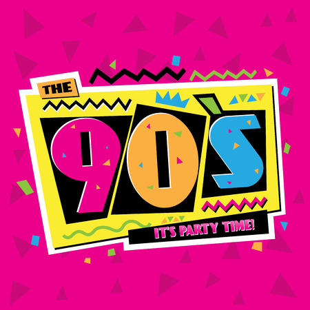 90: Party time The 90s style label. Vector illustration.