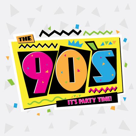 パーティー タイム 90 年代スタイルのラベル。ベクトルの図。