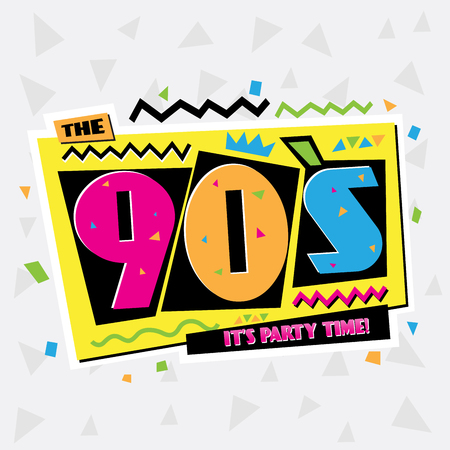 pink and black background: Party time The 90s style label. Vector illustration.