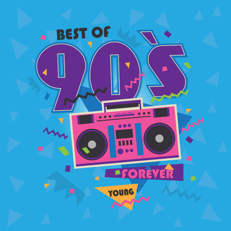 Best of 90s illistration with realistic tape recorder on blue background Stock fotó - 70912147