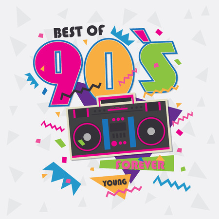 Best of 90s illistration with realistic tape recorder on pink background Illustration