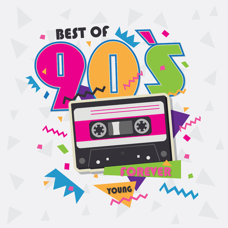 Best of 90s illistration with realistic tape cassette on white background Иллюстрация