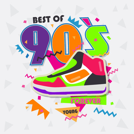 Best of 90s illistration with vintage shoes background Stock Illustratie