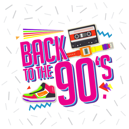 Best of 90s illistration with cassette and shoes background
