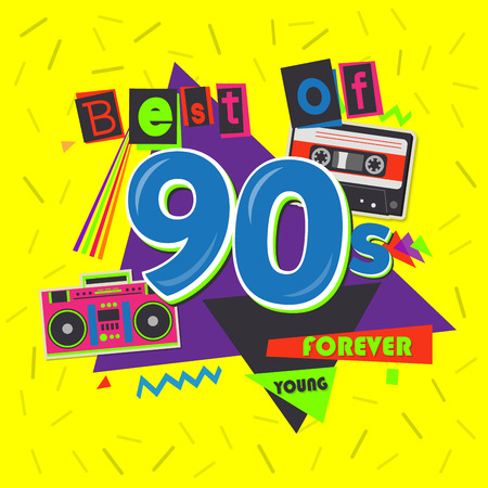 Best of 90s illustration with realistic tape cassette on pink layout.