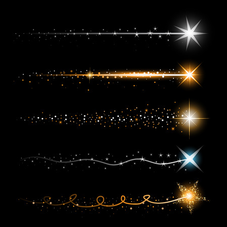 Gold glittering star dust trail sparkling particles on transparent background. Space comet tail. Vector glamour fashion illustration. Stockfoto