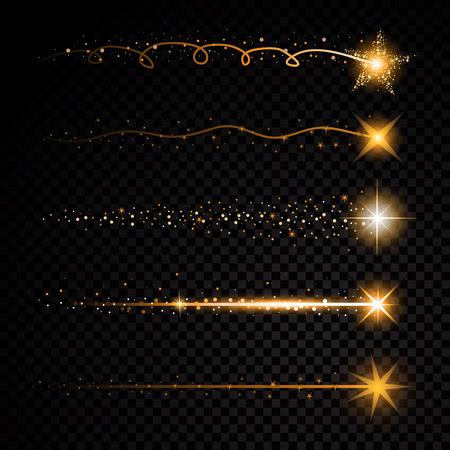 金きらびやかなスパイラル スター ・ ダスト トレイル透明な背景に輝く粒子。宇宙の彗星の尾。ベクトル グラマー ファッション イラスト セット