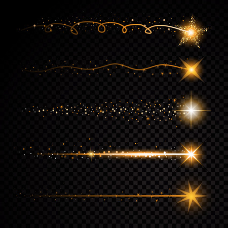 Gold glittering spiral star dust trail sparkling particles on transparent background. Space comet tail. Vector glamour fashion illustration set