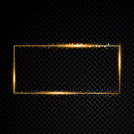 greeting season: Vector rectangle frame. Shining banner. Isolated on black transparent background. Vector illustration Illustration