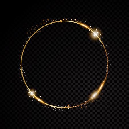 Vector redondo marco. Banner de círculo brillante. Aislado en el fondo transparente negro. Ilustración vectorial