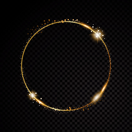 Vector round frame. Shining circle banner. Isolated on black transparent background. Vector illustration Çizim