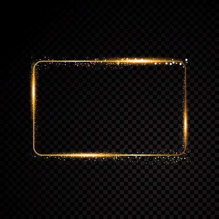 Vector rectangle frame. Shining banner. Isolated on black transparent background. Vector illustration Ilustracja