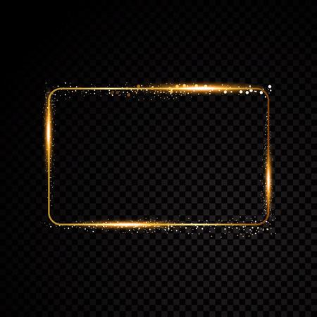 Vector rectangle frame. Shining banner. Isolated on black transparent background. Vector illustration Illustration