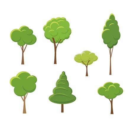 抽象的な様式化された木自然図のセット