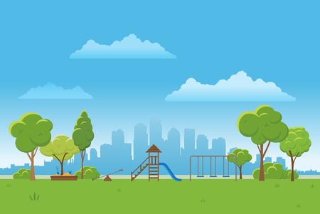 tranquil: Spring landscape background. Public park Vector illustration. city in background