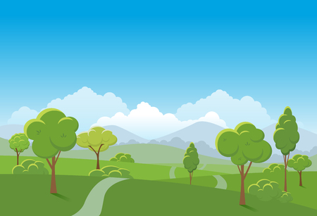 green environment: Spring landscape background. Public park Vector illustration.