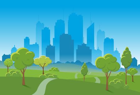 Spring landscape of a public park illustration.
