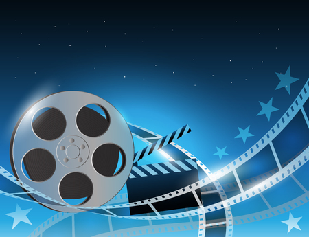 Illustration of a film stripe reel on shiny blue movie background Illustration