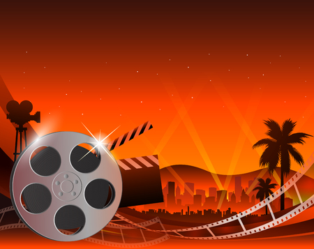Illustration of a film stripe reel on shiny red movie background