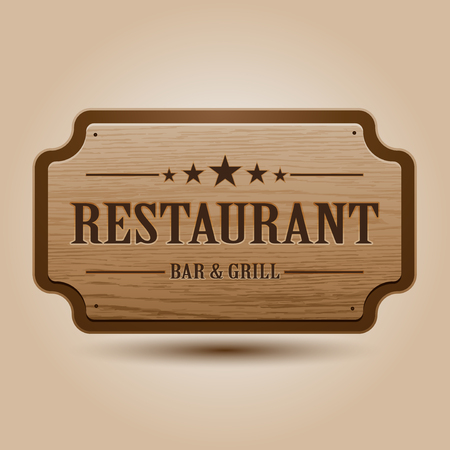 food: Vector realistic illustration of wooden signboard Illustration