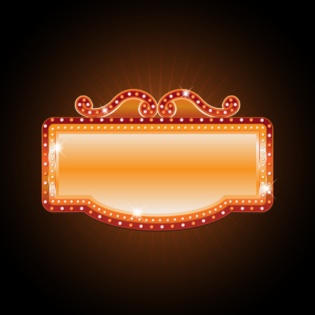 brightly: Brightly theater glowing retro cinema neon sign Illustration