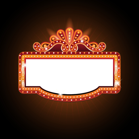 Brightly theater glowing retro cinema neon sign Illustration