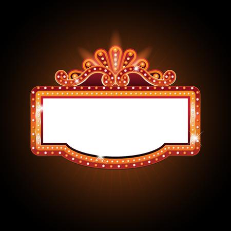 Brightly theater glowing retro cinema neon sign Vectores