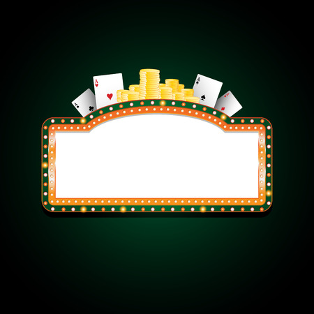 golden: Brightly green and orange casino glowing retro neon sign