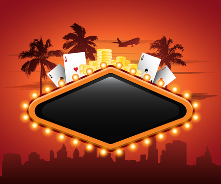 Vegas casino neon sign in front or cityscape Illustration