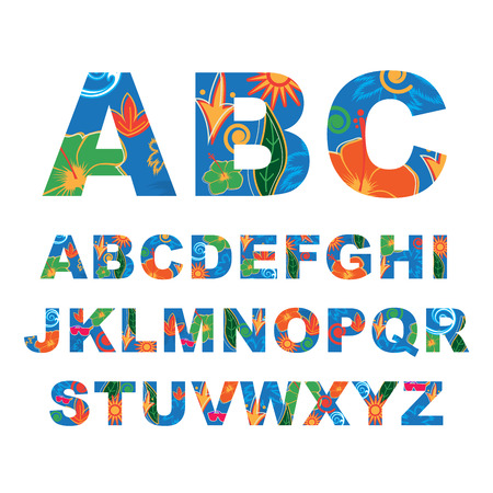 petal: Summer alphabet, capital vector letters Illustration