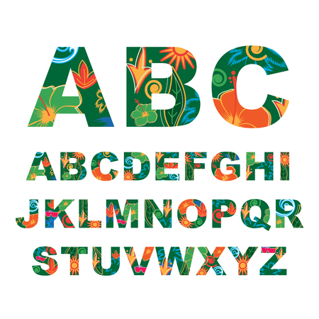 leaf: Summer alphabet, capital vector tropical letters