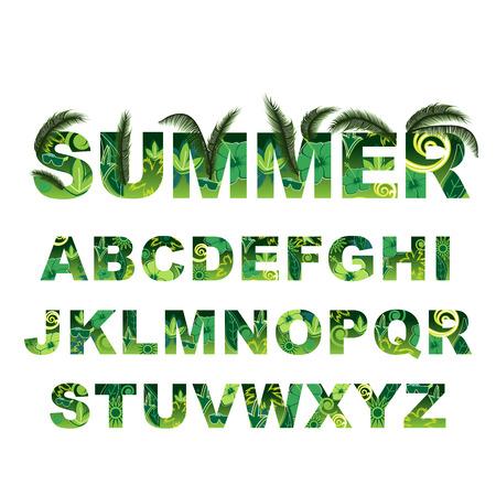 letter: Summer green alphabet, capital vector tropical letters Illustration