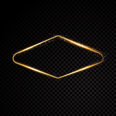 Vector Vegas golden frame. Shining banner. Isolated on black transparent background Vector illustration. 일러스트