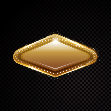 Vector Vegas golden frame. Shining banner. Isolated on black transparent background. Vector illustration