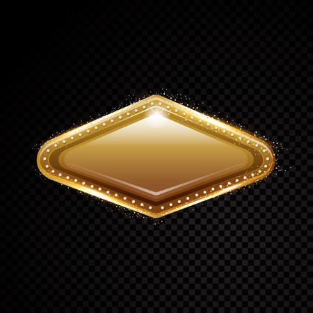 Vector Vegas golden frame. Shining banner. Isolated on black transparent background. Vector illustration