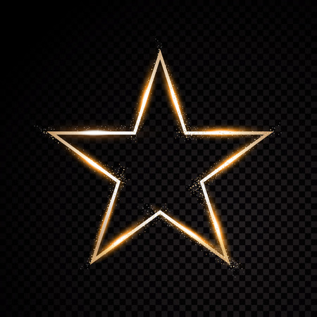 Star glow light effect burst with sparkles. Gold glitter Illustration