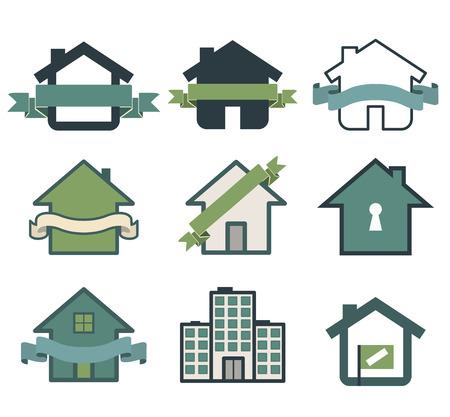building: Real estate symbol house logos