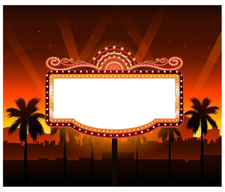 劇場映画のバナーのサインを見せてください。