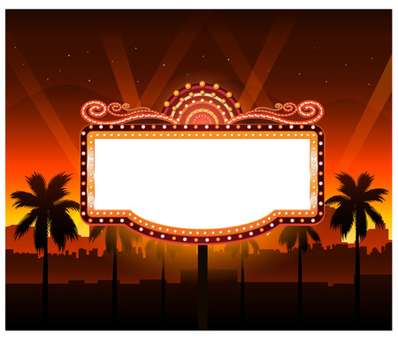 las vegas lights: Now showing theater movie banner sign