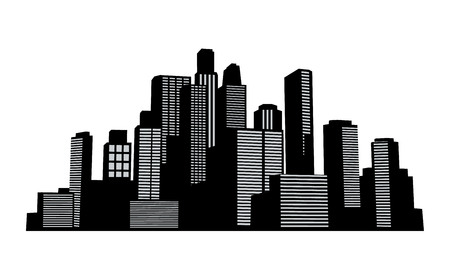 real estate house: Black vector cityscapes silhouettes buildings Illustration