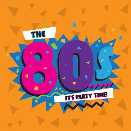 blue green background: Party time The 80 s style label. Vector illustration.