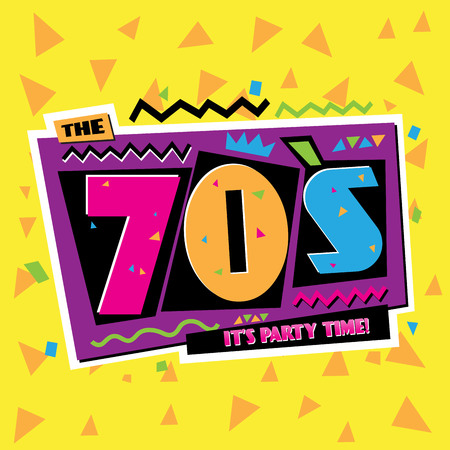 Party time The 70 s style label. Vector illustration retro background.