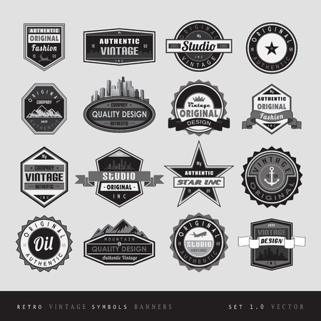 artwork: Vintage retro labels black and white isolated.