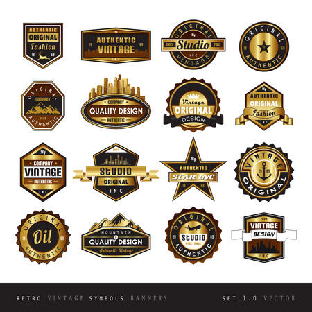 customer: Vintage retro golden labels black and white isolated