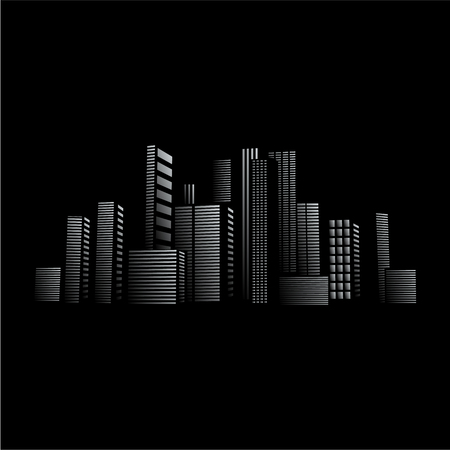 work from home: City lights design in front of black background